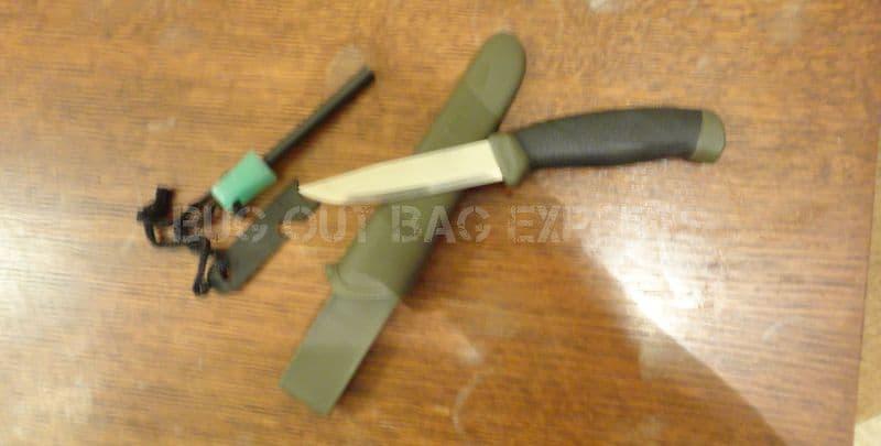 ferro rod and mora survival knife